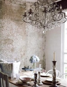 brick chandelier dining