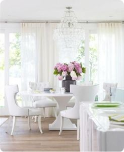 dining white furn and curtains