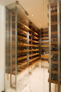 wine storage off kitchen cararra floor