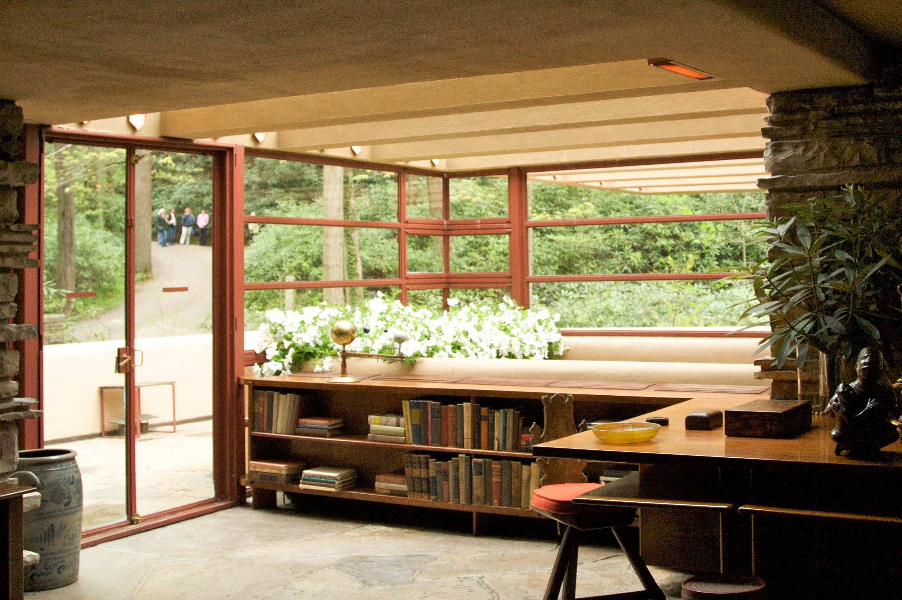 Frank lloyd wright living room windows and doors · large windows entrance