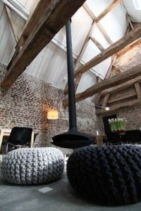knit ottomans in high ceiling beam room cover 1