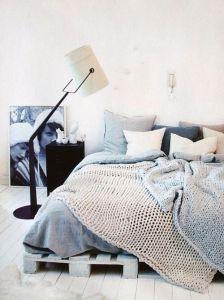 knit pallet bed blues bedroom