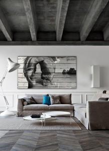 Grey ceiling and floors herringbon