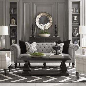 grey sofa chevron rug