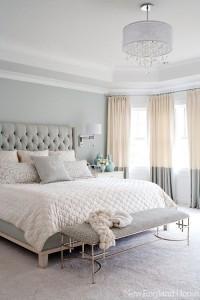 grey walls headboard bedroom