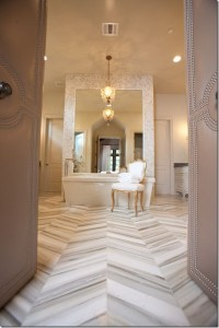 chevron floor bath padded studded doors