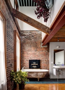 copper tub brick wall