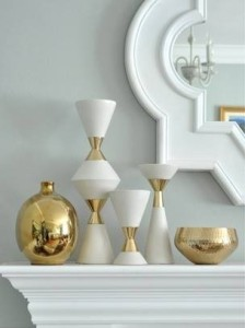 mixed mantel gold and white