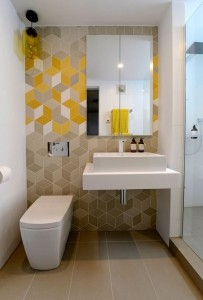 Bathroom Yellow Geo tiles