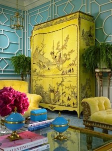 Chinoise Cabinet Yellow Multi colors