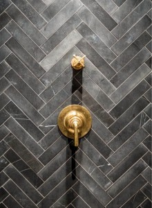 Gold Shower Knobs chevron tile