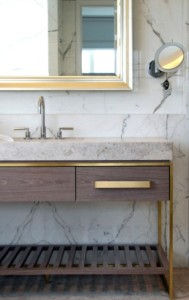 Gold trim wood vanity bath