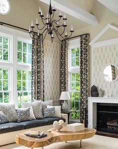 Ikat curtains animal pillows
