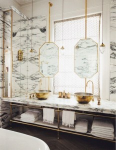 Marble Bath w Gold bowls