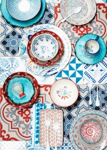 mixed patterns blue reds tiles