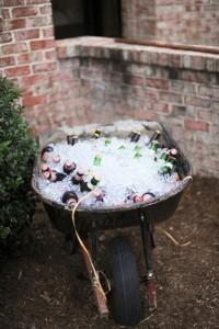 backyard wheel barrel of beer