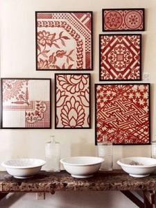 mono art red quilt