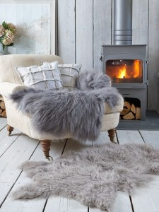 scan greys fur wood chair fireplace