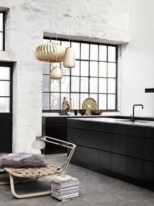 scand kitchen w wood pendants