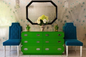 green dresser with peacock decor pad