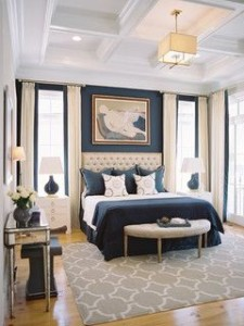elegant navy gold bedroom