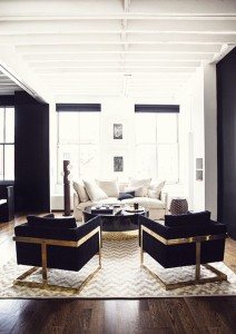 navy gold new york apartment