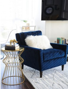 navy gold seating area
