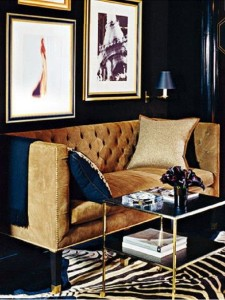navy gold tuffed living-leading image