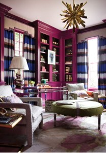 stripe curtains purple room
