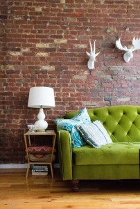 green w brick tufted