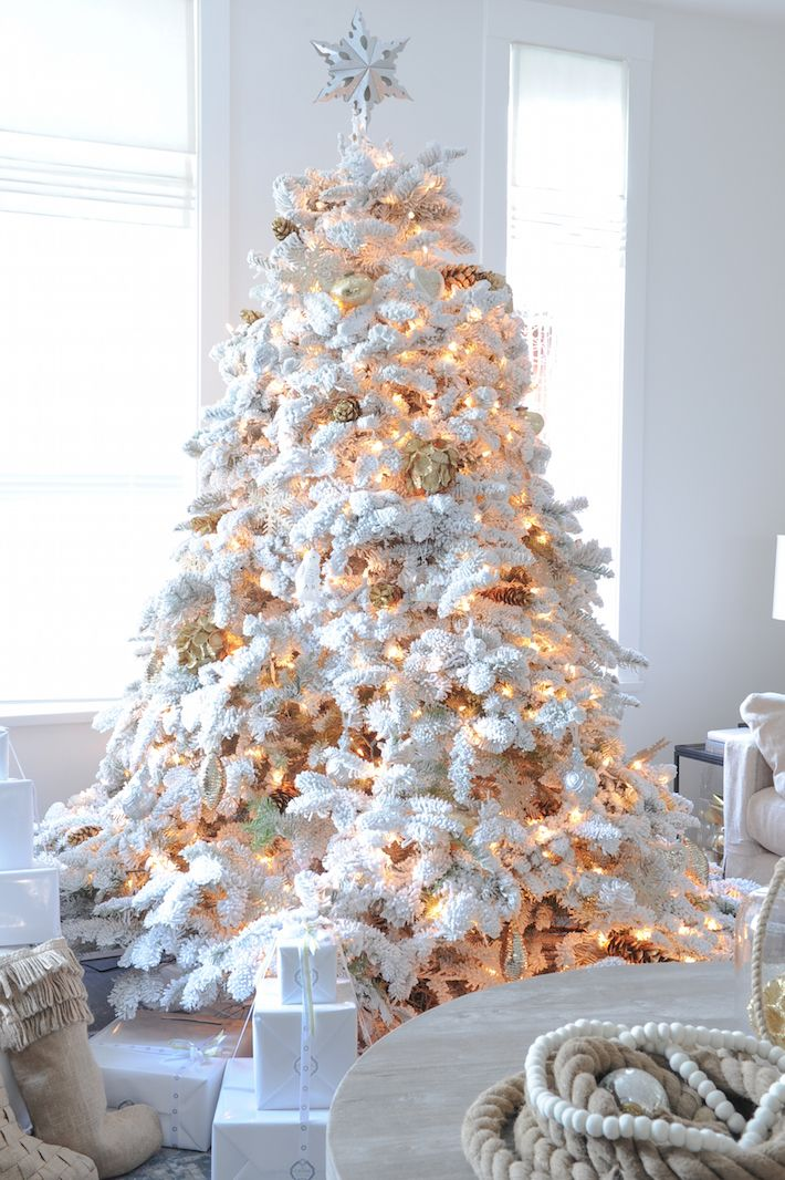 Flocked tree whats hot by jigsaw design group white flocked white room solutioingenieria Image collections