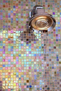 iridescent tile shower colorful