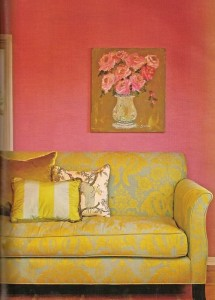 pink wall yellow couch