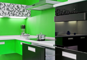 Black appliances modern green kitch