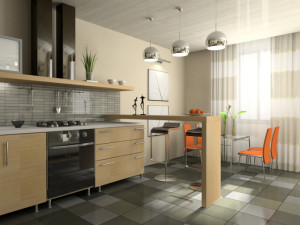 Interior of fashionable kitchen 3D rendering
