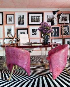 Wearstler Office pink creoc chairs