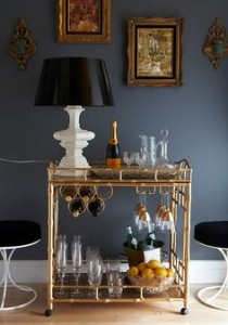 gold canne style cart