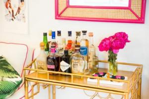 hot pink cane frame gold cart