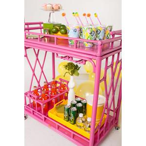 pink rattan bar cart