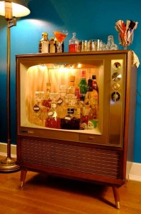 quirky old tv cart