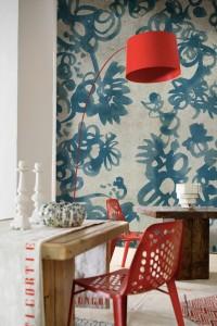 blue floral dining
