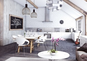 white kitchen bikc wall chairs wood