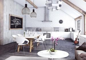 white kitchen bikc wall chairs wood