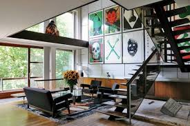 hipster living black stairs